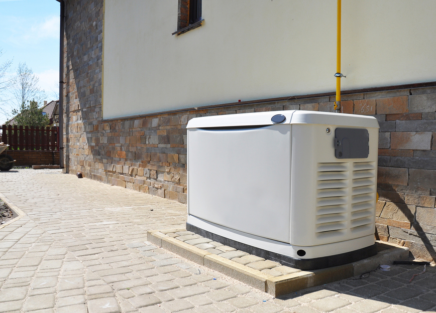 Backup generator outside house