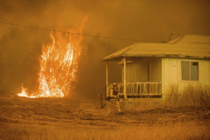 flames near a house