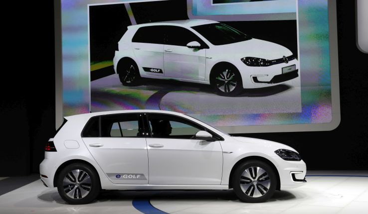 A white 2017 Volkswagen e-Golf electric car