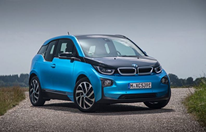 A blue and black 2017 BMW i3