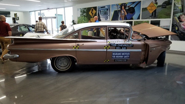 This 1959 Chevrolet Bel Air performed poorly in a front crash test. The engine pushed back into the driver's side of the car. (Photo: P. Harman/propertycasualty360.com)