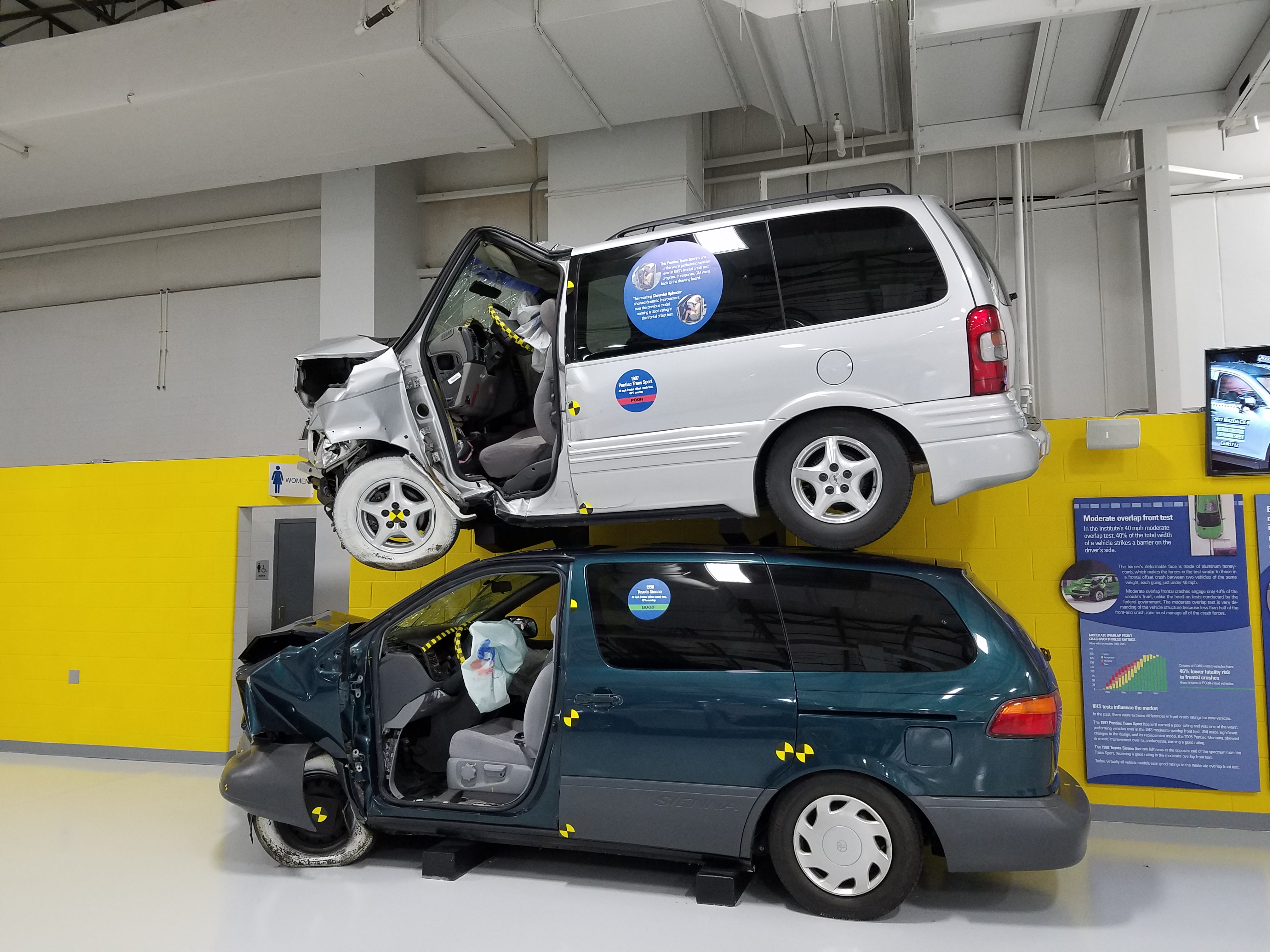Crash test for a Toyota Sienna and a Pontiac Trans Sport