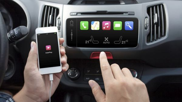 Car dashboard display with smartphone connected to data