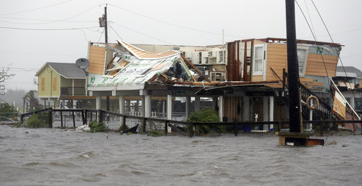Flood-damaged homes after Hurricane Harvey