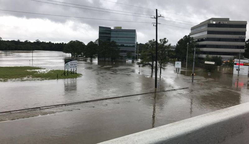 flooding around commercial buildings in Houston from Harvey