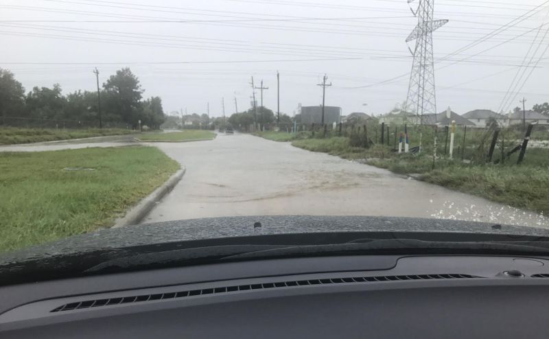 flooded Houston streets from Tropical Storm Harvey