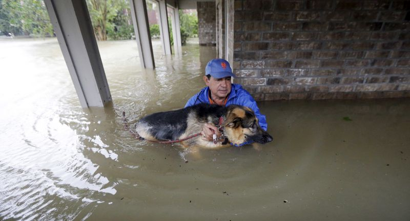 oe Garcia carries his dog Heidi from his flooded home