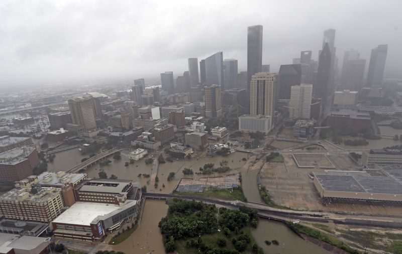 Highways around downtown Houston are empty as floodwaters from Tropical Storm Harvey overflow from the bayous around the city