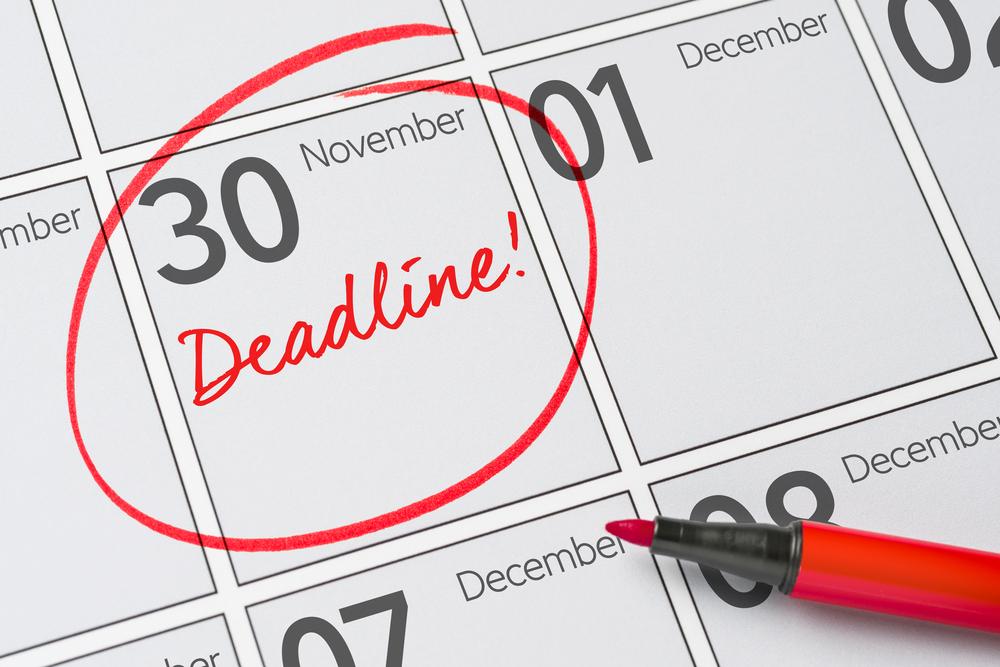 Nov 30 circled in red on calendar Deadline