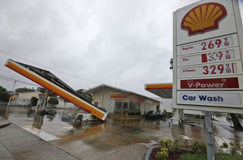The metal canopy at a gasoline station is shown after it was overturned by high winds brought on by Hurricane Irma