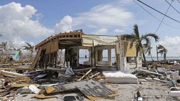 Debris surrounds a destroyed structure in the aftermath of Hurricane Irma, Wednesday, Sept. 13, 2017, in Big Pine Key, Fla. (AP Photo/Alan Diaz)