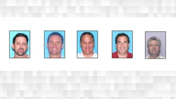 (l-r) Attorneys Adam Hurtig, 46, Alexander Kapetan, 44, Vincent Pravato, 48, Steven Slootsky, 57, and Mark Spatz, 58. (Photo: Broward County Sheriff's Office)