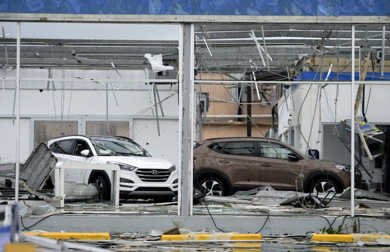 A car dealership lays in disarray after the impact of Hurricane Maria