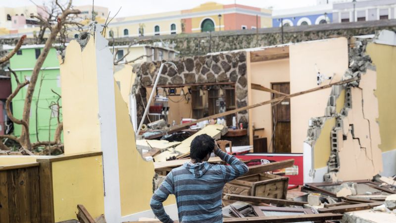 homes damaged by Hurricane Maria in Puerto Rico