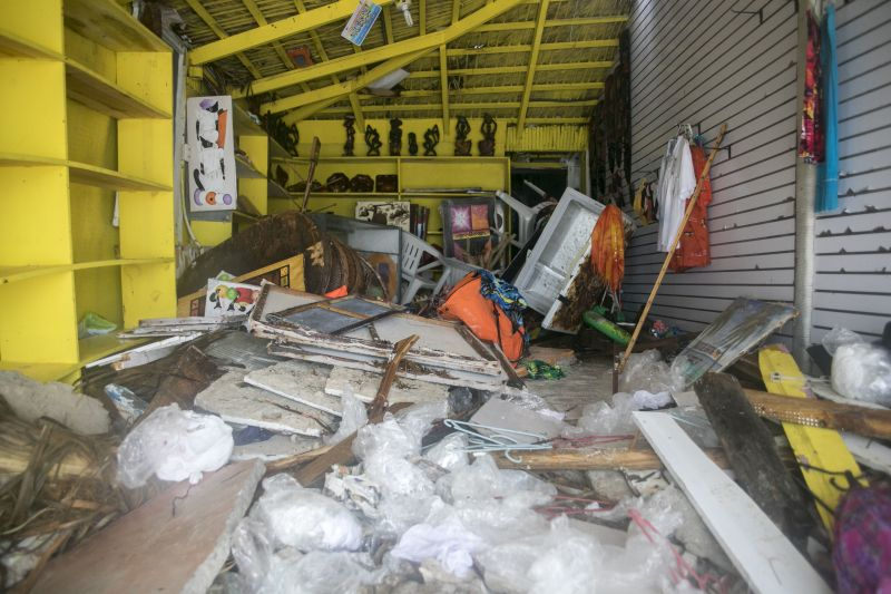 A gift shop lies damaged on Cofrecito Beach after the crossing of Hurricane Maria over Bavaro, Dominican Republic