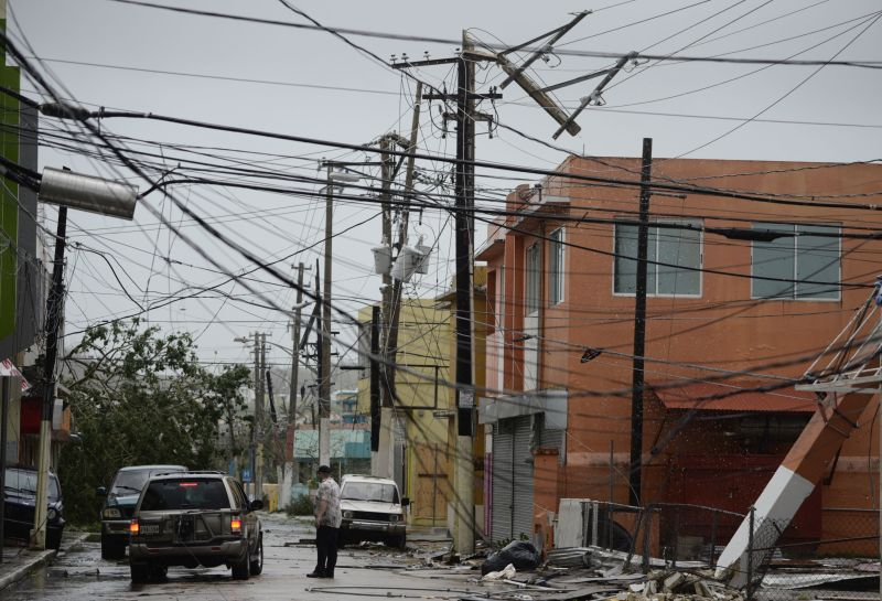 Power lines are down after the impact of Hurricane Maria