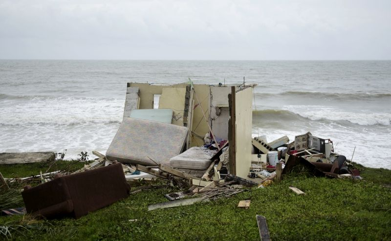 A completely ruined house is seen in El Negro community a day after the impact of Hurricane Maria, in Puerto Rico
