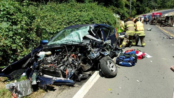 FILE--This photo taken July 4, 2016, and provided by the Oregon State Police shows the scene of a crash on Highway 101 near Lincoln City, Ore. (Oregon State Police via AP, file)