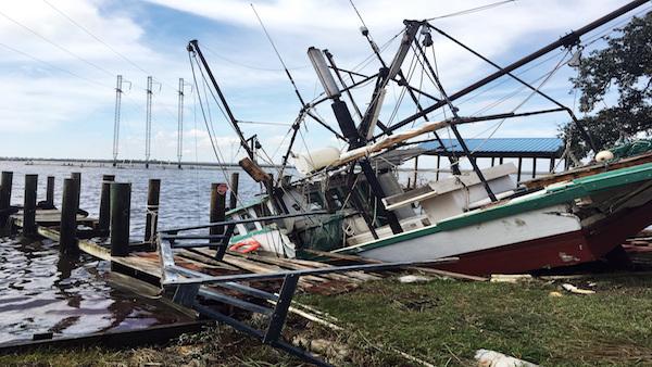 Sunken boat in Mississippi