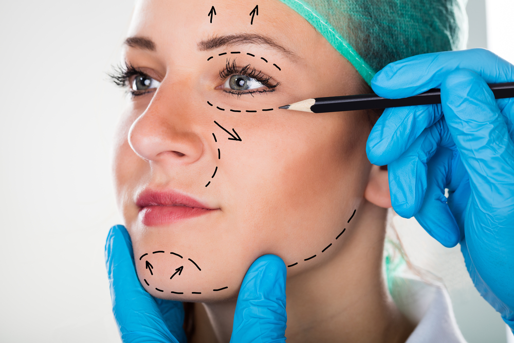 woman prepped for cosmetic surgery