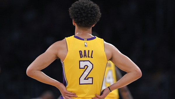In August, the U.S. Court of Appeals for the Ninth Circuit ruled against the Los Angeles Lakers after the basketball team sued to force its insurer to defend a Telephone Consumer Protection Act lawsuit. Here, Lakers guard Lonzo Ball stands on the court during the first half of the team's preseason NBA basketball game against the Denver Nuggets. (AP Photo/Mark J. Terrill)
