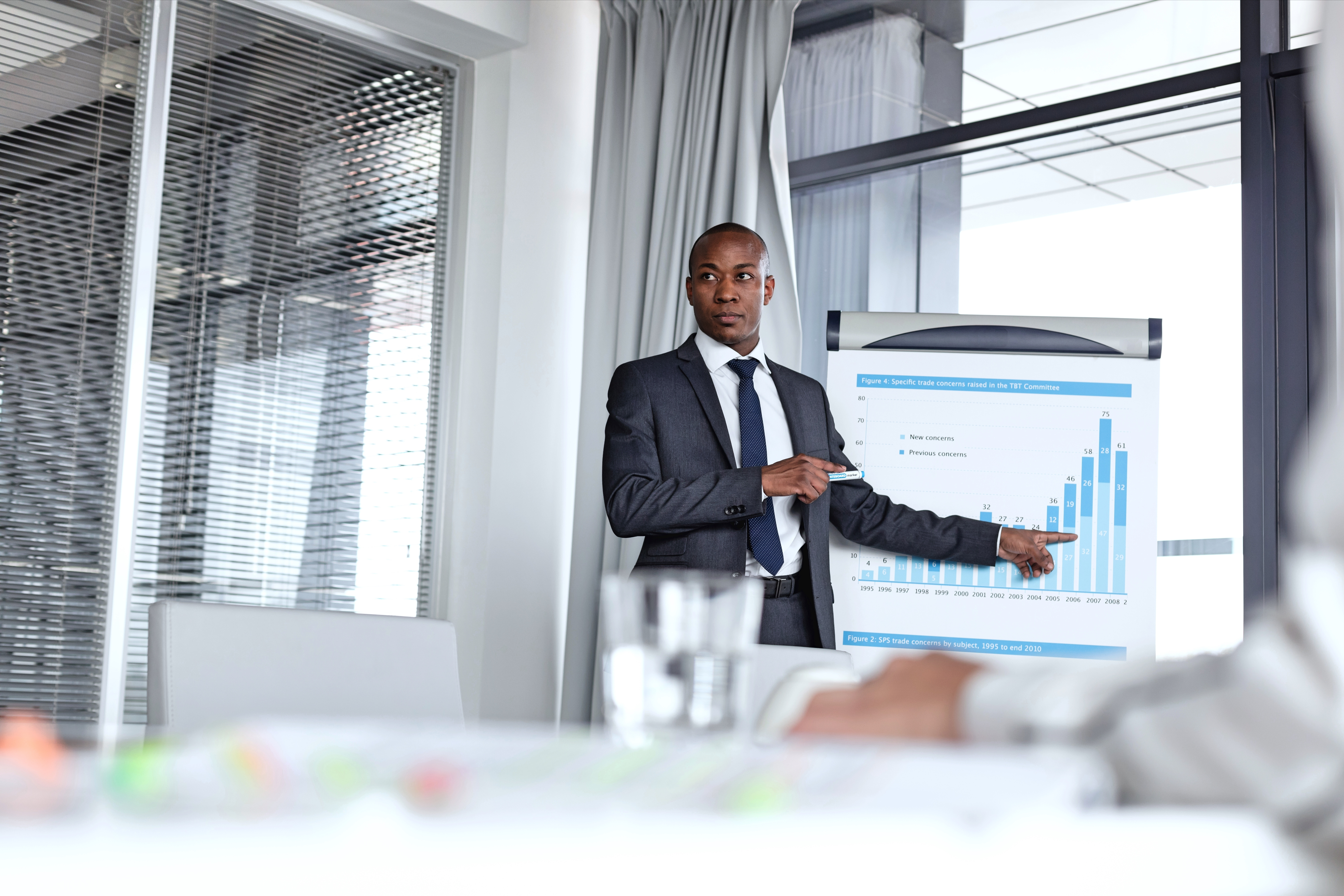 Young African American businessman making presentation with chart