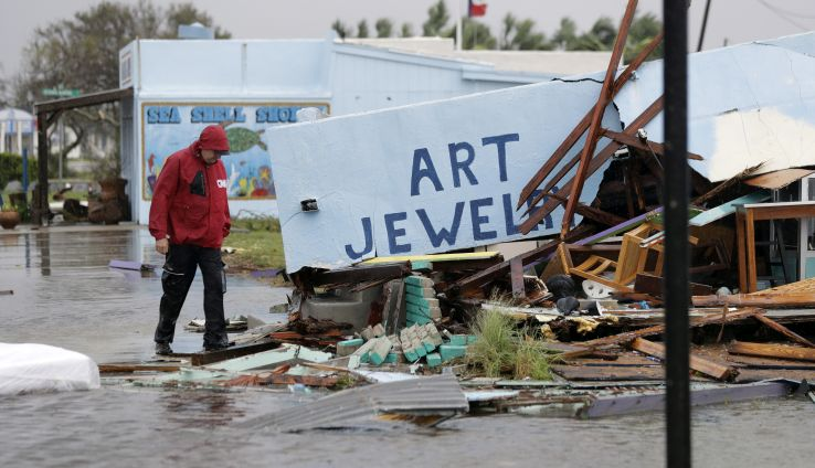 Business that was destroyed by Hurricane Harvey, in Rockport, Texas