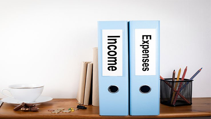 Blue-binders-labeled-income-and-expense-on-desk