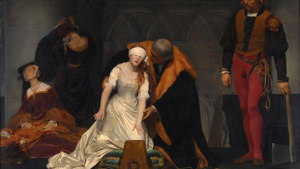 Color tonalities and figure detail of an original Paul Delaroche painting