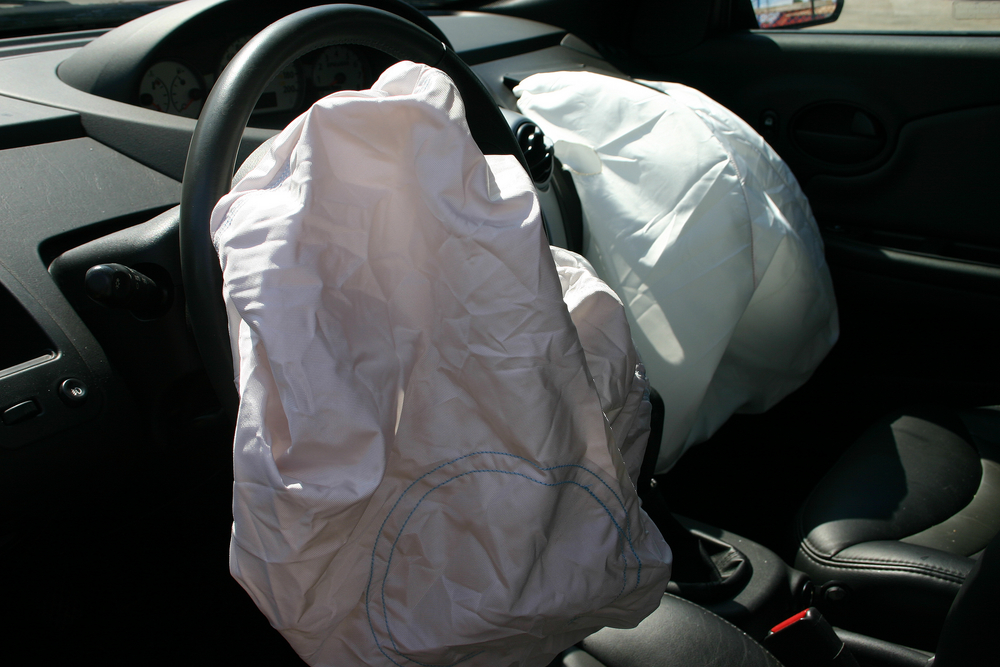 exploded airbag in a car
