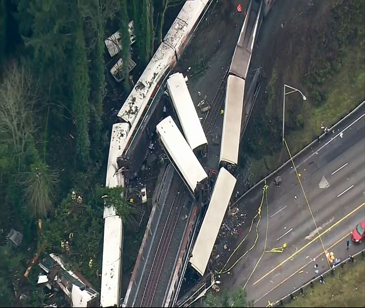 Aerial image of site of an Amtrak train that derailed south of Seattle on Monday, Dec. 18, 2017.