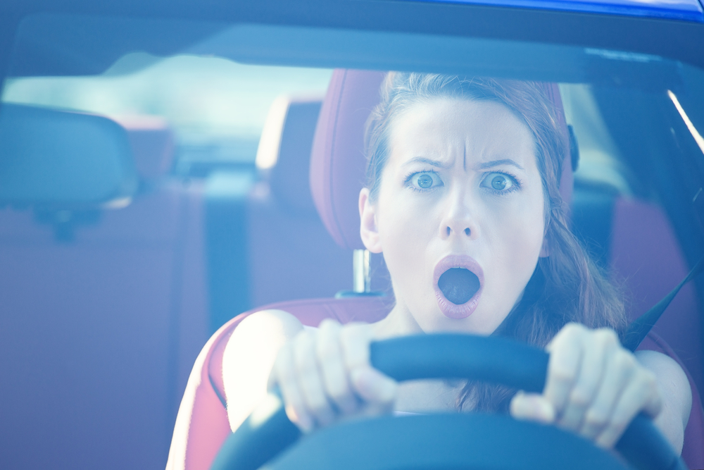 woman surprised at how much traffic there is