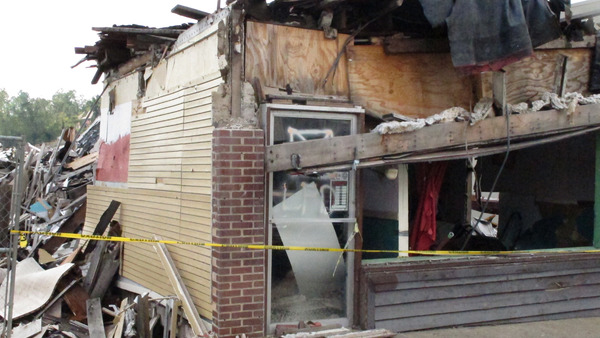 business building destroyed by natural disaster