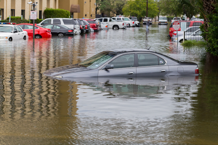 Hurricane Harvey Texas car submerged in street flooding