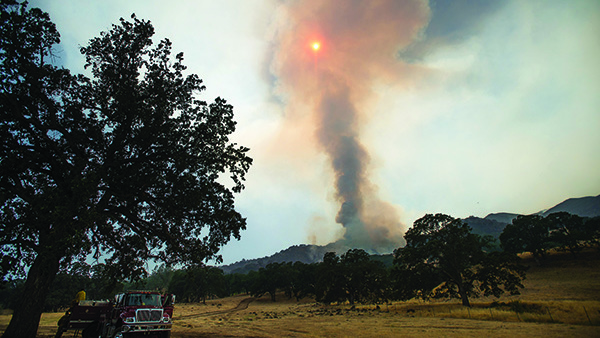 A column of smoke rises from the Wragg fire near Winters, Calif., on July 23, 2015. According to Cal Fire, the blaze scorched more than 6,000 acres. (Photo: Noah Berger/AP Photo)