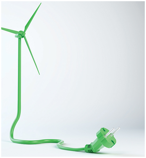 Windmill with green blades