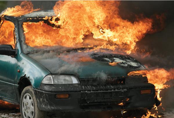 car fully engulfed by fire